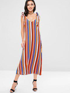 ZAFUL Tie Shoulder Striped Maxi Shift Dress - Multi L