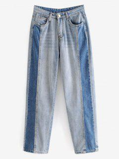 Contrasting Straight Jeans - Jeans Blue L