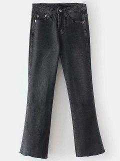 Frayed Boot Cut Jeans - Black L