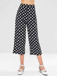 High Waisted Polka Dot Wide Leg Pants - Black