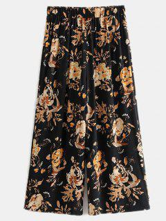 Floral Wide Leg Cropped Pants - Black L