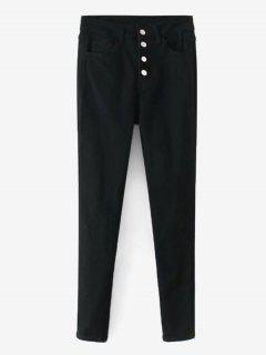 Button Fly Straight Pants - Black L