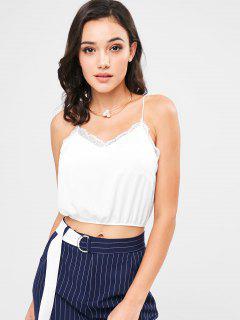 Lace Trim Cami Strap Crop Tank Top - White L