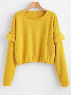 Drop Shoulder Flounce Pullover Sweatshirt - Yellow M