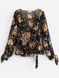 Flower Print Wrap Long Sleeve Blouse - Black L