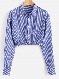 Crop Striped Shirt - Blue M