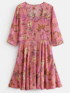 Blumen Mini A-Linie Kleid - Rosa L