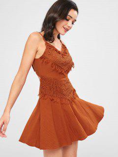 A Line Crochet Overlay Mini Dress - Grapefruit M