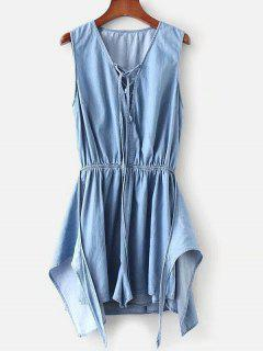 Lace Up Knotted Romper - Denim Blue S