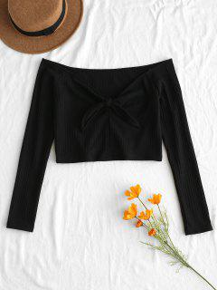 Ribbed Knot Crop Sweater - Black M