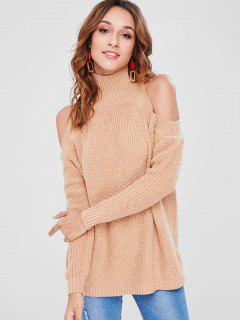 Turtleneck Cold Shoulder Sweater - Camel Brown