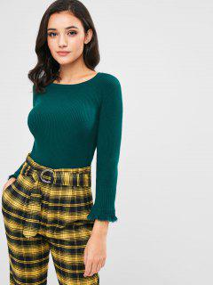 Raglan Sleeve Ribbed Knit Sweater - Deep Green