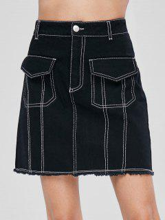 High Waist Frayed Hem Skirt - Black Xs