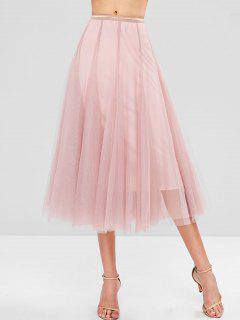 Layered Tulle Midi Skirt - Pink M