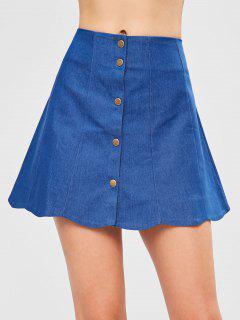 Snap Button Scalloped Skirt - Blue S