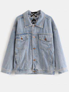 Lace Up Jean Jacket - Blue Gray S