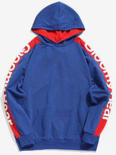 Side Stripe Letter Taped Contrast Hoodie - Blueberry Blue 2xl