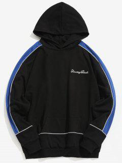 Chest Embroidery Letter Contrast Hoodie - Black M