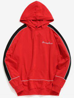 Chest Embroidery Letter Contrast Hoodie - Fire Engine Red Xl