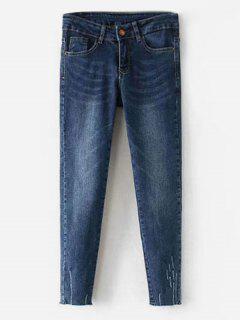 High Rise Ripped Skinny Jeans - Denim Dark Blue L