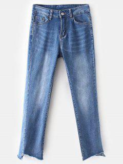 Frayed Hem Faded Boyfriend Jeans - Blue S