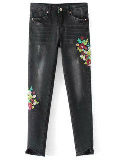 Frayed Floral Embroidered Skinny Jeans - Black L