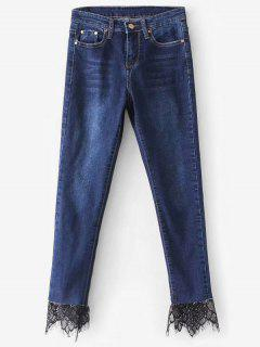 High Rise Lace Panel Skinny Jeans - Denim Dark Blue L