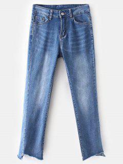 Frayed Hem Faded Boyfriend Jeans - Blue M