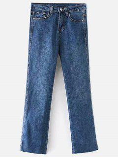 Raw Hem Bootcut Jeans - Denim Dark Blue Xl