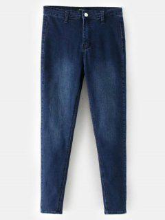 Pantalones Vaqueros Rectos Mediados De La Cintura - Azul Oscuro De Denim M