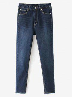 Whiskered Indigo Wash Mom Jeans - Deep Blue M