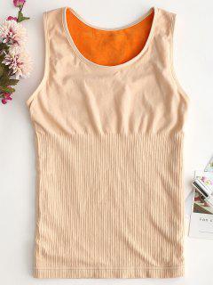 Fleece Long Underwear Thermal Tank Top - Beige L