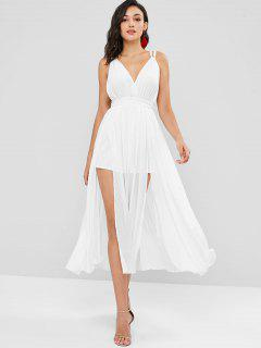 Flowy Halter Backless High Slit Maxi Dress - White L