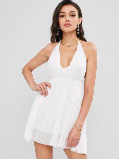 Halter Chiffon Mini Sun Dress - White M