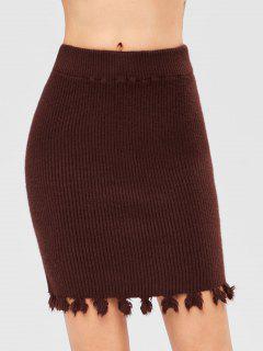 Pull On Sweater Pencil Skirt - Maroon