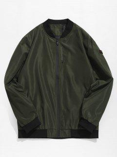 Casual Contrast Letter Bomber Jacket - Army Green L