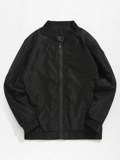 Casual Contrast Letter Bomber Jacket - Black Xs