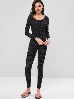 Printed Long Underwear Thermal Top And Pants Set - Black L