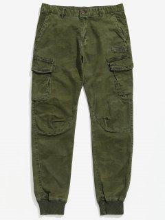 Solid Cuffed Hem Cargo Pants - Army Green 36