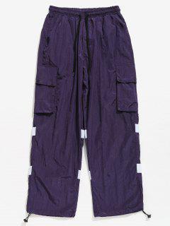 Striped Snap Button Patch Pockets Pants - Purple Iris L