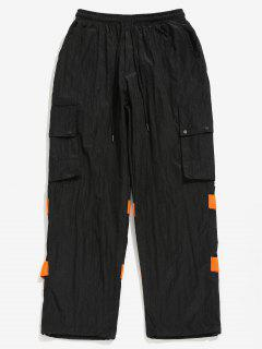 Striped Snap Button Patch Pockets Pants - Black L
