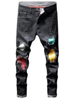 Hole Patch Design Jeans - Black 34