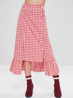 ZAFUL Button Up Ruffles Plaid Maxi Skirt - Love Red S