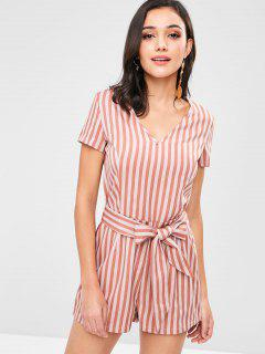 ZAFUL Knotted Stripes Romper - Orange Salmon S