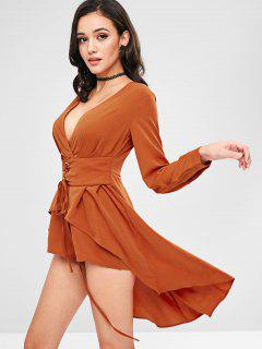 ZAFUL Lace Up Surplice Skirted Romper - Papaya Orange M