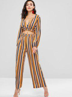 ZAFUL Striped Top And Loose Pants Set - Multi L
