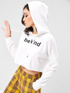 Drawstring Letter Graphic Cropped Hoodie - White M