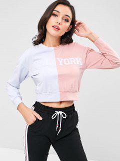 ZAFUL Two Tone Short Graphic Sweatshirt - Pink S