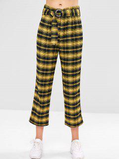 ZAFUL Pantalones Rectos De Tartán Con Cinturón - Amarillo De Sol  L