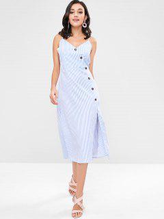 ZAFUL Striped Buttoned Midi Dress - Sky Blue L